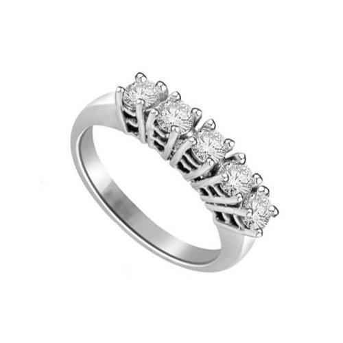 0,50 quilates H/SI1 Anillo de half Eternity de diamante para mujer con Redonda diamantes en 18k Oro blanco