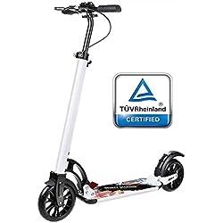 besrey Wheel Scooter Trottinette Pliable. Frein à Main et à Pied. Double système d'absorption des Chocs. pour Adultes et Adolescents. Blanc
