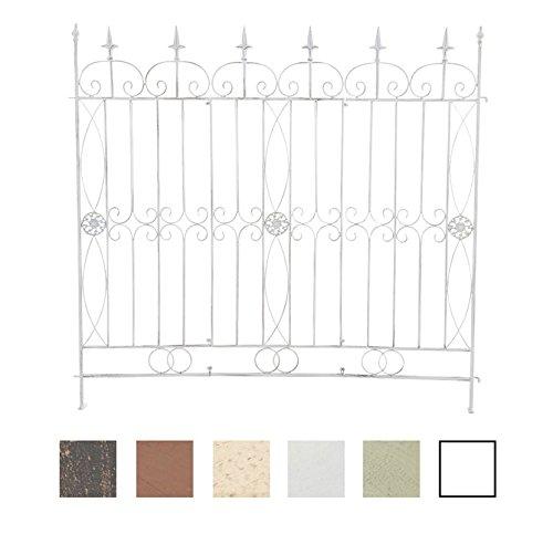 CLP Eisen-Gartenzaun Mangold I Individuell erweiterbarer Rankzaun I Rankgitter im Landhausstil I erhältlich Antik Weiß
