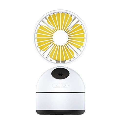 FHDF Kleiner tragbarer Tisch-Tischventilator, USB-Lade-persönlicher Luftkühler-faltender Ventilator mit Spray-Feuchtigkeits-Befeuchter-Turmventilator verwendbar für Arbeit/Reise (Color : Yellow)