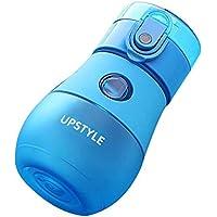Botella de agua UPSTYLE de grado alimenticio para niños con pajita a prueba de fugas de plástico para deportes, botella de agua de viaje, taza de zumo para niños, 280 ml, azul