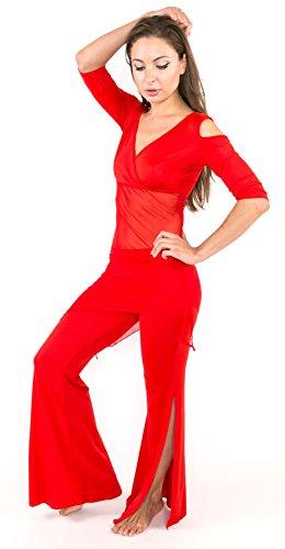Bauchtanz Kostüm mit 2 Teile Oberteil Top + Hose Belly Dance Übungskostüm (one size, Rot) (Dance 2 Hose)