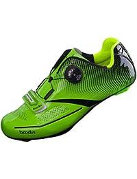 CUTICATE Zapatillas de Ciclismo de Carretera Malla Transpirable Plantilla de EVA para Estilo SPD, SPD SL - Amarillo, 43