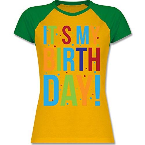 Shirtracer Geburtstag - It's My Birthday - Zweifarbiges Baseballshirt/Raglan T-Shirt für Damen Gelb/Grün