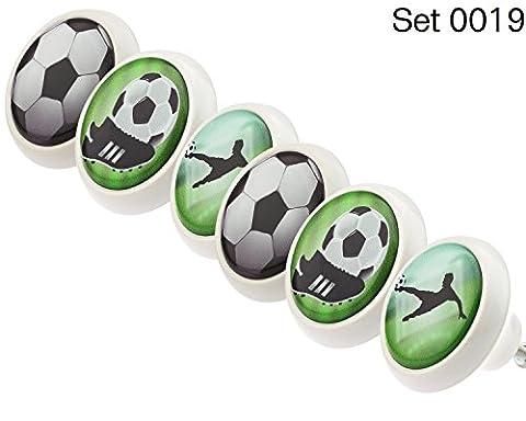 Designer Keramik Möbelknöpfe Set 0019 GH Fussball 6er - Möbelknauf, Kommode, Schublade, Schrank, Griffe, Porzellan, Kinder, Kinderzimmer