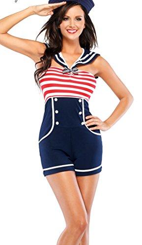 Neue Women's, 2 Stück, Blue Stripes &Navy Sailor Marine Captain Overall Woman Kostüm für Junggesellinnenabschied