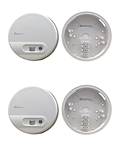 Set of 2 x Kidde KF10 Ionisation Smoke Alarms (Mains / 9 Volt Battery Backup) complete with SMK4896 Universal Mounting Plates with FREE MCD LED Keyring Torch