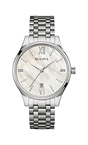 Bulova Diamond Women's Quartz Watch with Mother of Pearl Dial Analogue Display and Silver Stainless Steel Bracelet