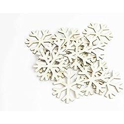Schneeflocke - Holzfarbe - 15 Stück Holzdekoration (Größe 50 mm) - ideal zum Dekorieren der Tisch- /Tischkarte.