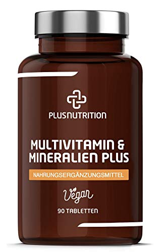 PLUS NUTRITION® Multivitamin & Mineralien PLUS - Multivitamin Tabletten Vegan mit 15 Vitaminen & 13 Mineralstoffen, wie Magnesium, Vitamin D3, Vitamin D - Monatsvorrat, 90 Tabletten - Made in Germany