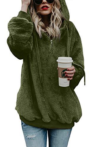 BLENCOT Damen Oversized Warm Double Fuzzy Hoodies Casual Looose Pullover Hoodie Sweatshirt Outwear - - (34-36) Small