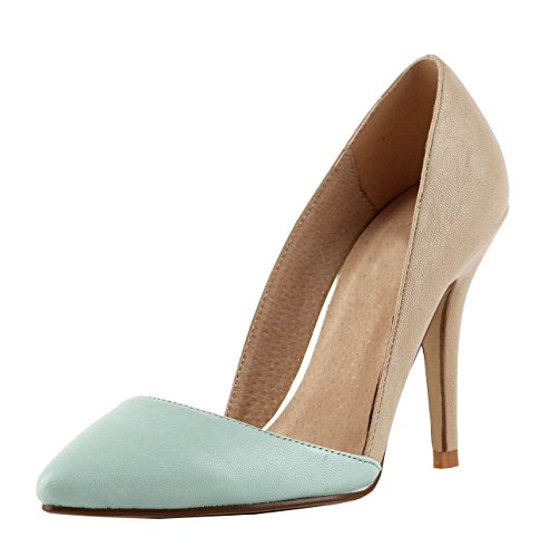 Miyoopark , Sandales Compensées femme Brown/Light Blue-9.5cm Heel
