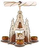 BRUBAKER Piramide Natalizia 29 cm - Maria, Giuseppe e Gesù - 2 Piani - con 4 Porta-Luce da tè in Metallo - Legno Naturale - Figure scolpite