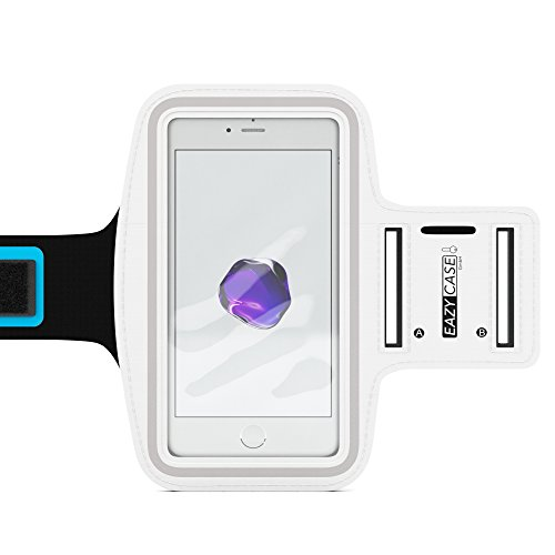 EAZY CASE Sport Armband, Fitness Armband Schweißbeständig Weich für Laufen, Bergsteigen, geeignet für alle Smartphones bis 5.5 Zoll wie Apple iPhone 7 Plus, Samsung Galaxy S7 Edge und mehr in Weiß