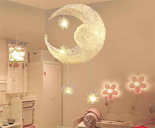 GWM 15 watt led kinderzimmer kronleuchter kreative persönlichkeit Restaurant bar Balkon Schlafzimmer mond leuchten, 40x100 cm (Farbe : Warmes Licht) -
