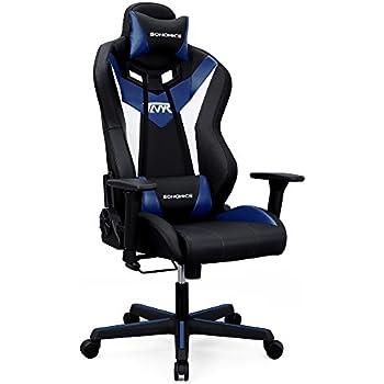 Armlehnen Gaming Bürostuhl Kopfstütze Ergonomischer Stuhl Und Verstellbarer Songmics 3d Hoher Rückenlehne Lendenstütze Rcg15bu Mit CeWorxdB