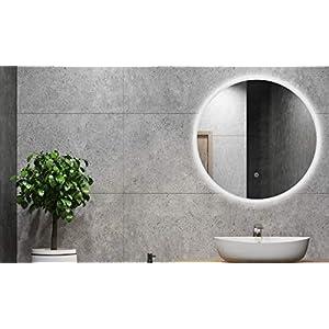 ALLDREI Badspiegel mit licht Runder Badezimmerspiegel mit LED Beleuchtung, Touch Schalter - 60 cm Rund, Wasserdicth IP44, Weiß Lichtfarbe, Farbtemperatur 6500K, Lumen 1584, Energieklasse A+