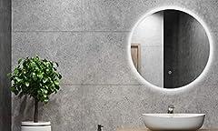 Idea Regalo - Specchio da bagno ALLDREI con luce Specchio da bagno rotondo con illuminazione a LED, interruttore tattile - rotondo da 60 cm, colore bianco chiaro, classe energetica A +