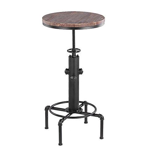 iKayaa Bartisch Stehtisch Bistrotisch Rund mit Kiefer Tischplatte und Metallrahmen Durchmesser 50cm Höhenverstellbar - Metall Runde Pub Tabelle