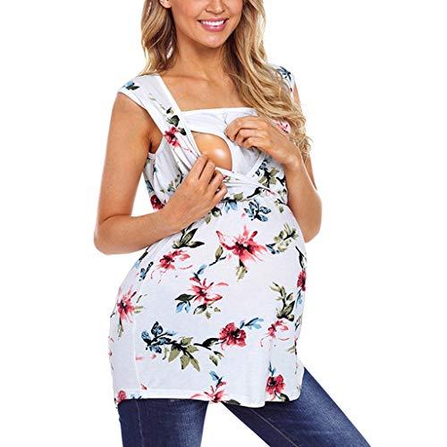 MISSWongg Frauen Mutterschaft Casual Sleeveless Stillen Kleidung Baumwolle Floral Print Pflege Top Casual Schwangere T Shirt Kleidung Floral Baby Doll Tee