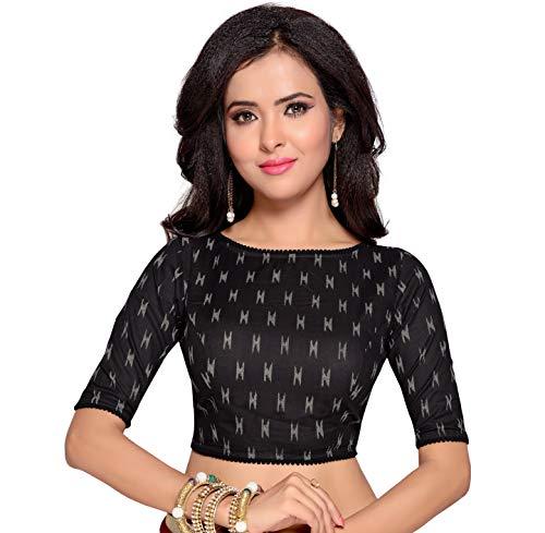 Studio Shringaar Women's Ikat Print Cotton Stitched Saree Blouse (Black, 40)