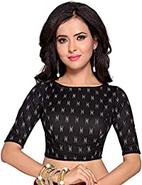 dfc7b61372 STUDIO SHRINGAAR WOMEN'S BLACK IKAT PRINT PURE COTTON STITCHED SAREE BLOUSE