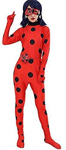 Fanessy. Kinder Erwachsene Cartoon Ladybug Marienkäer Kostüm Overall Mit Schwarze Polka Dots Party Cosplay Outfit Set Jumpsuit Augenmaske Tasche Perücke Verkleidung Karneval Fasching Halloween - Schwarzer Overall Für Erwachsene Kostüm