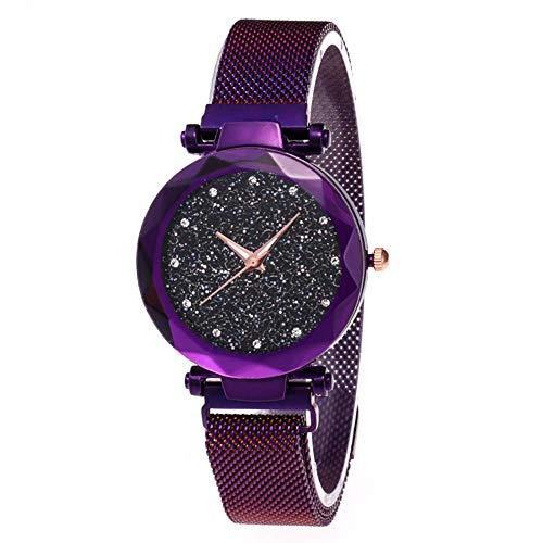 Damen Uhren, Starry Sky Damenuhren, Parkomm Frauen Sky Star Armbanduhr mit Magnet Band Schnalle für Business/Urlaub/Geburtstag Geschenke (Lila) (Damen Uhren Lila)