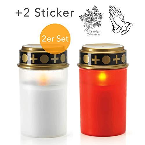 KELOPEST® 2X LED Grablicht mit Batterie und 6 Monaten Leuchtdauer - LED Grabkerze mit realistischem Flackereffekt (1x Weiß, 1x Rot) 2 Weiße Leds Batterien