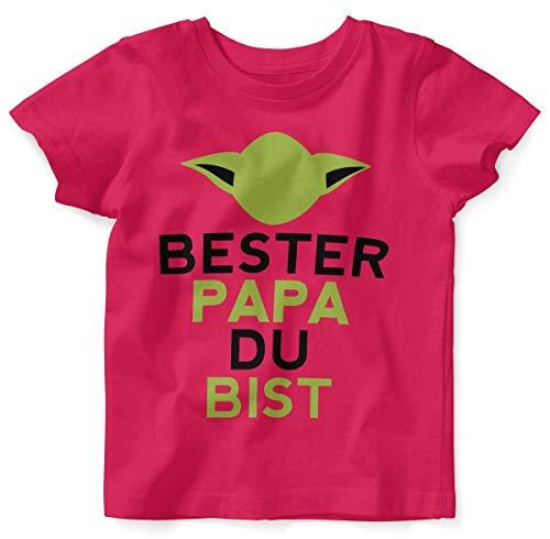 Mikalino Baby/Kinder T-Shirt mit Spruch für Jungen Mädchen Unisex Kurzarm Bester Papa Du bist | handbedruckt in Deutschland | Handmade with Love, Farbe:himbeerpink, Grösse:80/86