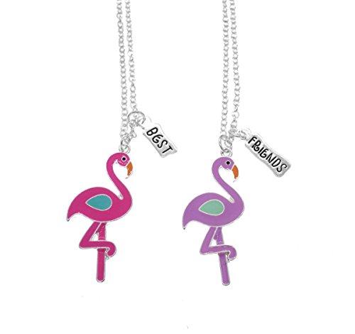 Las niñas bff collar para 2mejores amigos collar rosa y morado colgante de plata rosa Flamingo Set Regalo