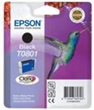 Epson T0801, Druckerpatrone (Schwarz, Blisterpackung mit akustischem RF-Alarm, für Stylus Photo P50, PX650, PX