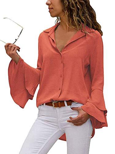 ShallGood Damen Trompetenärmel Elegant Causaul Chiffon Bluse Hemd Tunika Oberteil V-Ausschnitt Button-Down Freizeit Orange DE 44