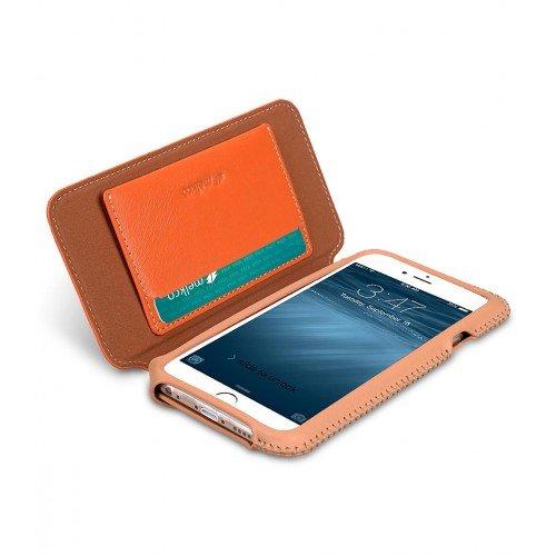 Apple Iphone 6s / 6 Melkco Azteca Series Type de livre haut de, gamme étui en cuir Premium Housse en mode sensation de cuir orange 3