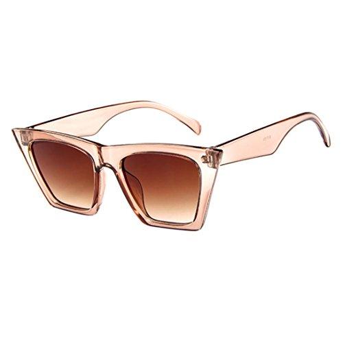 Solike Sonnenbrille für Damen Retro Look Cateye Groß Plastik Rahmen Nerd Brille Kunststoff Brillen Draussen Sunglasses (Beige)