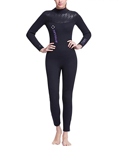 SAIL & DIVE Damen Herren Lange Ärmel Tauchanzug 5mm/3mm Neoprenanzug One Piece Long Sleeve Badeanzug (Damen 5mm, XS/TagsizeS)