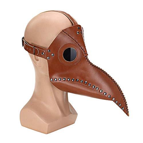 CLDGF Punk-Horror Maske, Vogel Gesicht, PU-Leder, Rollenspiel, Lange Nase, Pest-Arzt, Halloween-Party-Kostüm (29Cmx 25Cm),1PACK