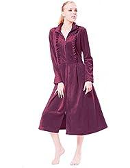 RAIKOU Damen warmer, kuscheliger Morgenmantel/ Hausmantel mit Reißverschluss und Rüschen