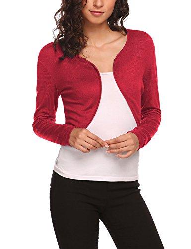 Unibelle Damen Kurz Strickjacke Jäckchen 3/4 Arm Bolero Cardigan Schulterjacke für Retro Kleider Rot XL