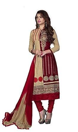 Blissta Women's Cotton Dress Material (GTARA08_Beige&maroon0)