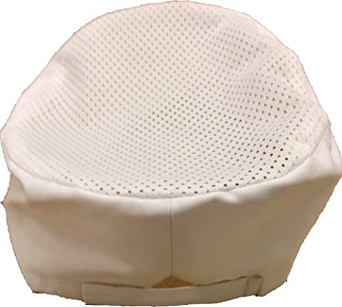 White Poly Cotton Chefs/ Kitchen Cooking Skull Cap Hat with Mesh Top, One Size