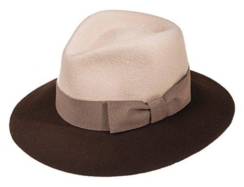 Ledatomica Cappello Donna Feltro Stile Borsalino Falda Larga Bicolor-Beige-59