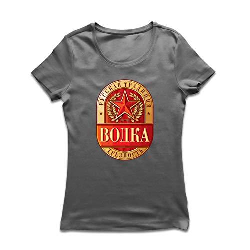 Demokrat Fitted T-shirt (lepni.me Frauen T-Shirt Wodka russische Tradition Nüchternheit, Roter Stern UDSSR Politisches Symbol (Large Graphit Mehrfarben))