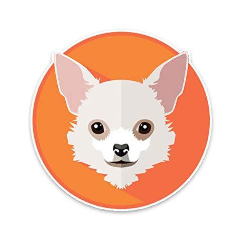 XXYMCB 13 * 13 cm Chihuahua Perro Cabeza Coche Parachoques Ventana decoración Coche Pegatina 3 Piezas