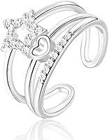 JRosee Swarovski Element Love Heart Ring for Women Adjustable Size
