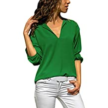 Blusas con Volantes, Zolimx Tops de Lino de Algodón Mujeres Camisa de Manga Larga Sólida