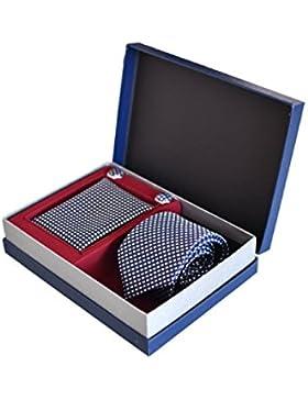 Corbata, Pañuelo y Gemelos de cuadros Azul (Caja de Lujo), 100 % Seda - Oxford Collection -