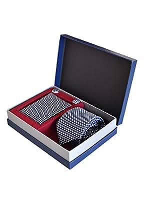 Coffret Ensemble Cravate Homme, Mouchoir de Poche, Boutons de Manchette à carreaux Bleu - 100% en Soie - Elégant et Moderne - (Idéal pour un cadeau, un mariage, avec un costume, au travail…)