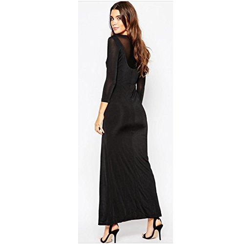 M-Queen Mode Sexy Rétro Tunique Dress Sheer Manches Longues V Col Party/Cocktail/Soirée Bodycon Robe Femme Noir Noir