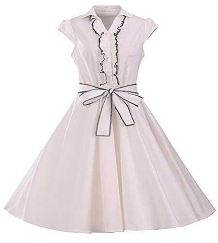 Brinny Femme Robe Vintage Ann¨¦es 50 Robe de Bal Polka Pin-up 'Audrey Hepburn' Rockabilly pour Soir¨¦e Cocktail Blanc